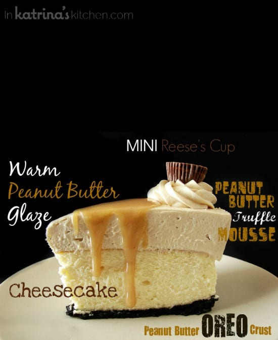 Peanut Butter Truffle Mousse Cheesecake Recipe - layers and layers of peanut butter heaven OMG
