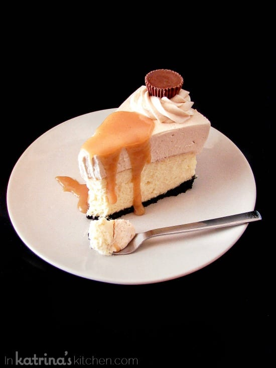Peanut Butter Truffle Mousse Cheesecake Recipe with warm peanut butter sauce