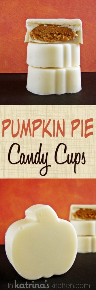 White chocolate shells filled with pumpkin pie candy filling. A must-make this Thanksgiving! Pumpkin Pie Candy Cups recipe