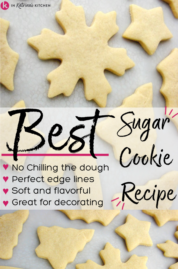 unfrosted christmas cut out cookies laying flat on a white surface with text Best Sugar Cookie Recipe
