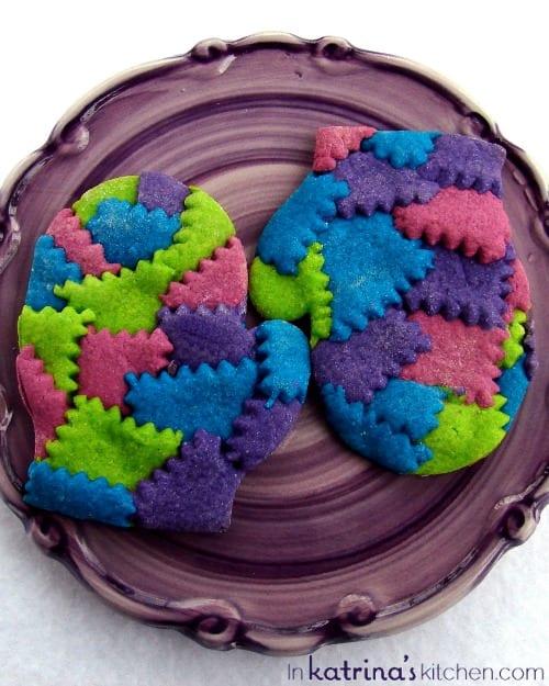 Patchwork Winter Mitten Cookies