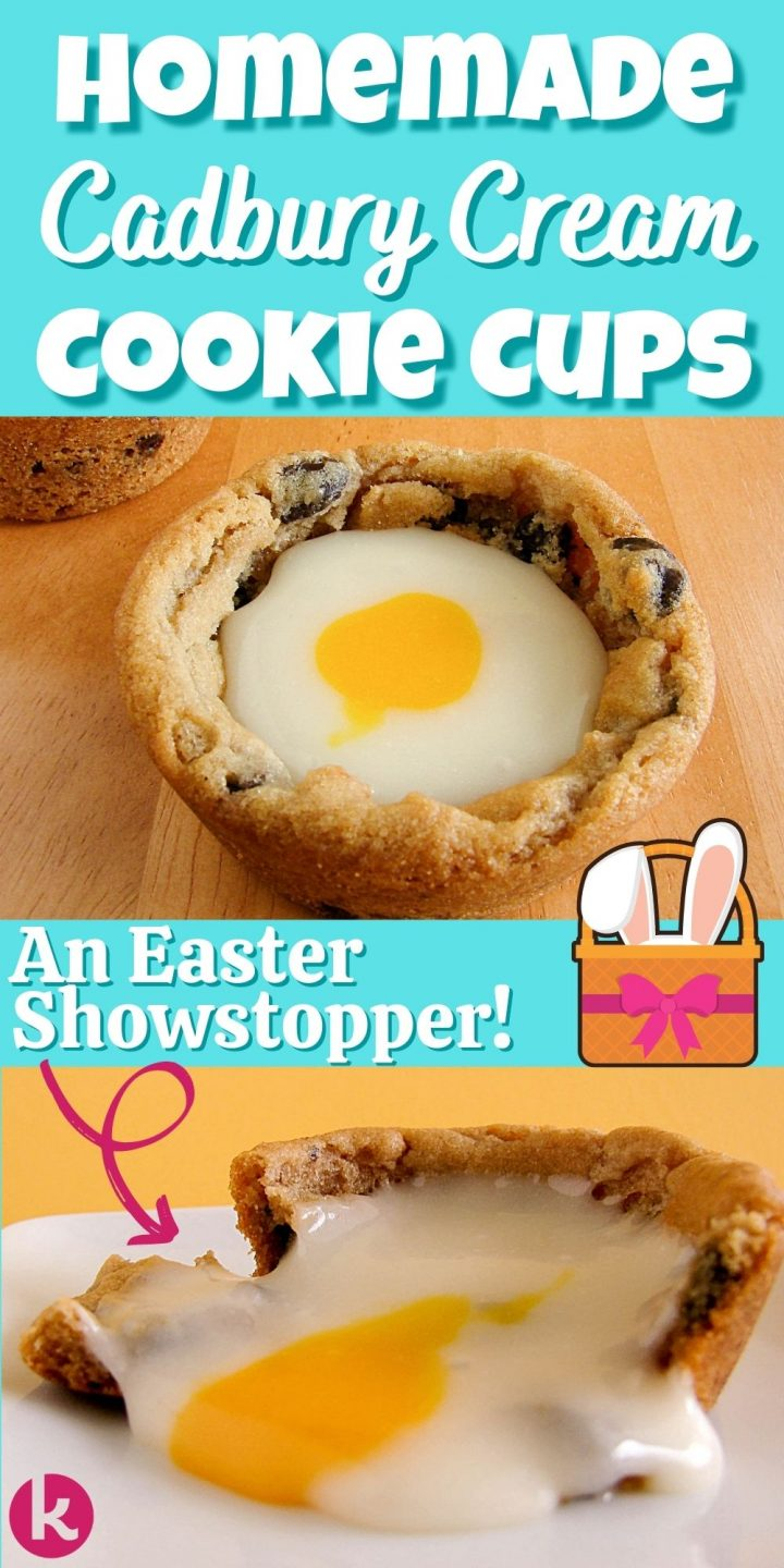 cookie cups with frosting oozing out collage image with text homemade cadbury cream cookie cups an easter favorite