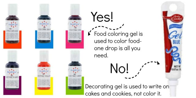 Difference between food color gel and decorating gel