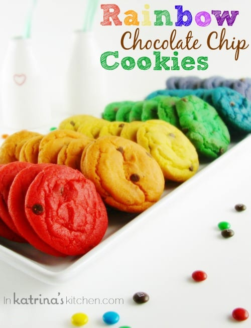 Rainbow Chocolate Chip Cookies Recipe | In Katrina\'s Kitchen