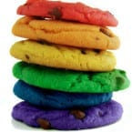 Rainbow Chocolate Chip Cookies Recipe from @katrinaskitchen
