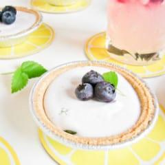 Frozen Blueberry Basil Lemonade Mini Pies @Katrinaskitchen