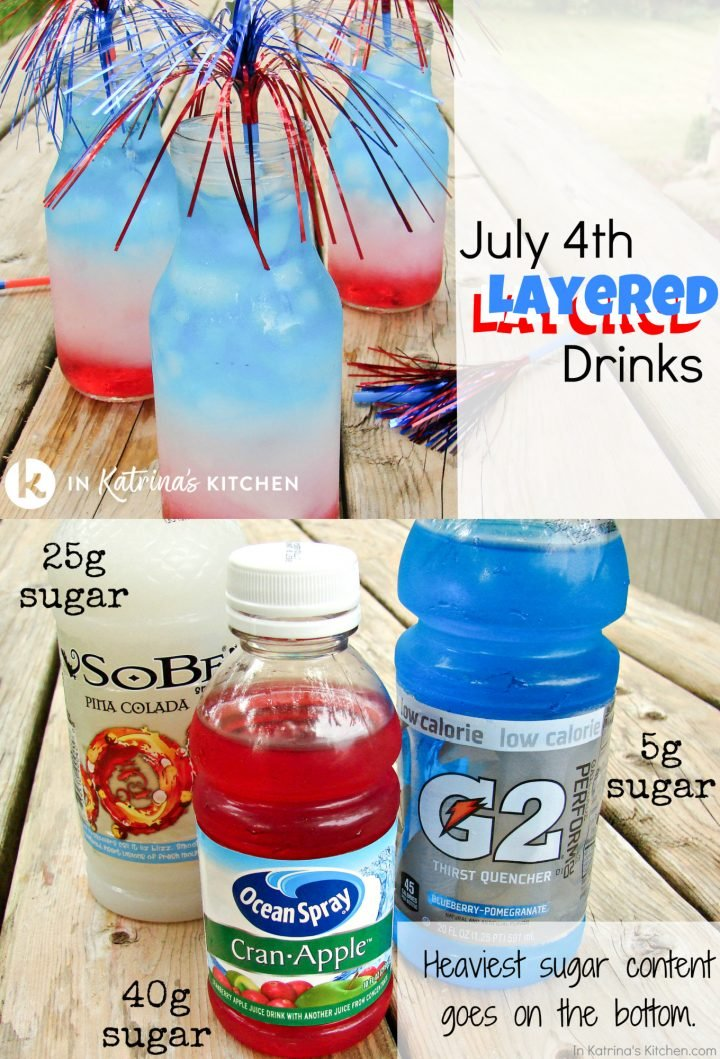 red white and blue layered drinks heaviest sugar content goes on the bottom