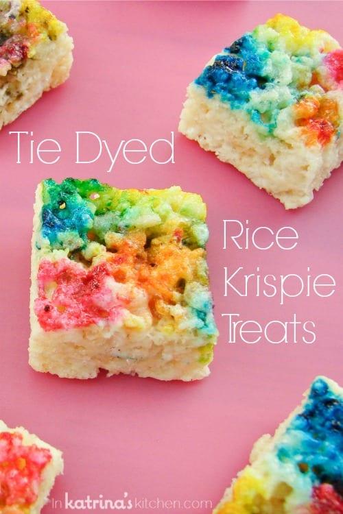 Rainbow Tie Dyed Rice Krispie Treats