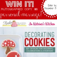 Win an autographed copy of Decorating Cookies with a personal message from Bridget Edwards inkatrinaskitchen...