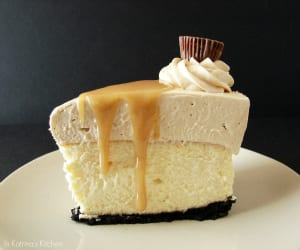 Peanut Butter Truffle Mousse Cheesecake from @KatrinasKitchen at www.inkatrinaskitchen.com