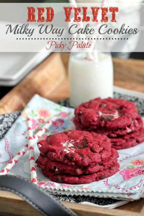 Picky Palate | Red Velvet Milky Way Cake Cookies