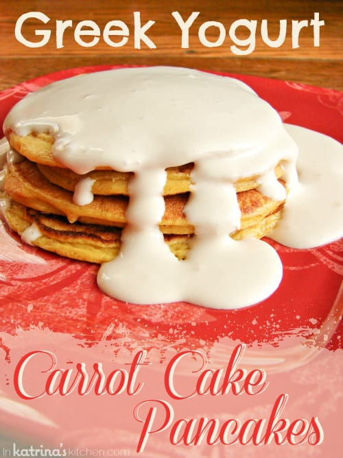 Greek Yogurt Carrot Cake Pancakes | www.inkatrinaskitchen.com