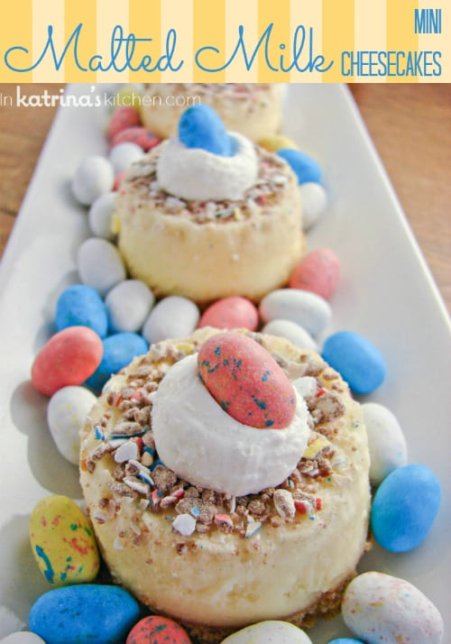 Mini Malted Milk Mini Cheesecakes- perfect recipe for leftover Easter candy!