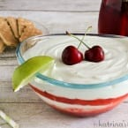 Cherry Limeade Fruit Dip Recipe at www.inkatrinaskitchen.com The perfectly sweet and tart dip for summer. Try it with fruit, graham crackers, or pretzel sticks!
