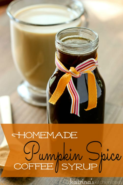Recipe to make your own Homemade Pumpkin Spice Coffee Syrup! It only takes pennies to make and you will have delicious coffee all season long. @KatrinasKitchen