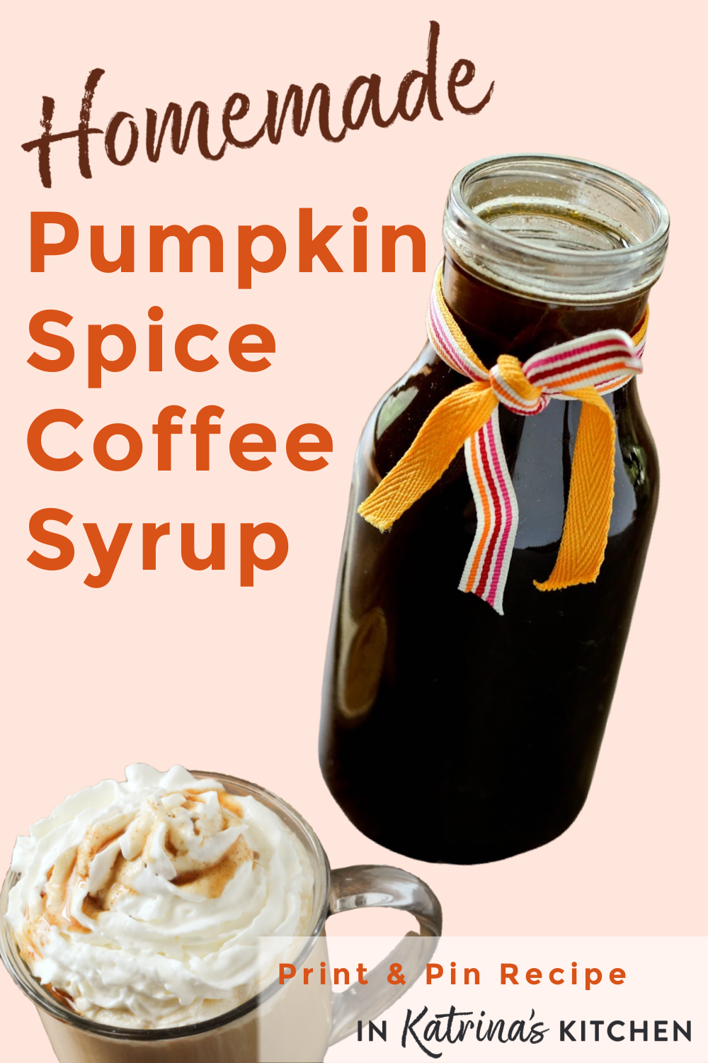 Make your own Homemade Pumpkin Spice Coffee Syrup at home and save money!! Simple recipe with 4 ingredients