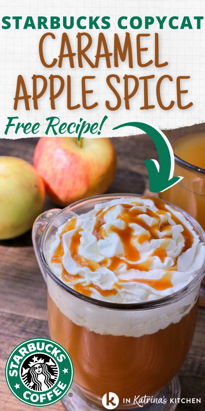 text starbucks copycat caramel apple spice free recipe showing a hot apple cider drink topped with whipped cream and caramel sauce