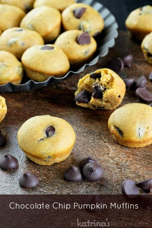 Pumpkin Chocolate Chip Mini Muffins recipe- a Thanksgiving tradition!