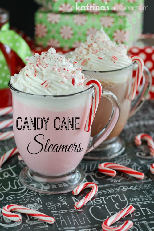 Candy Cane Steamers Recipe - Hot frothy milk whipped up with a special homemade candy cane syrup.