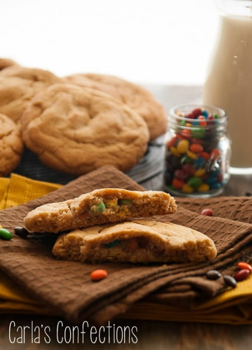 Classic Peanut Butter Cookies with delicious M&M cookie dough balls stuffed inside! #BringtheCOOKIES
