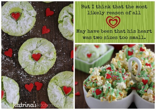 Cake Mix Grinch Cookies and Popcorn