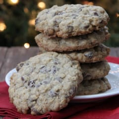 Oatmeal Chocolate Chip Cookie Recipe from bakedbyrachel.com Santa's favorite cookie!