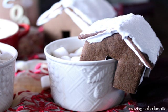 Mini Gingerbread House Hot Chocolate Mug Perches by Cravings of a Lunatic #BringtheCOOKIES