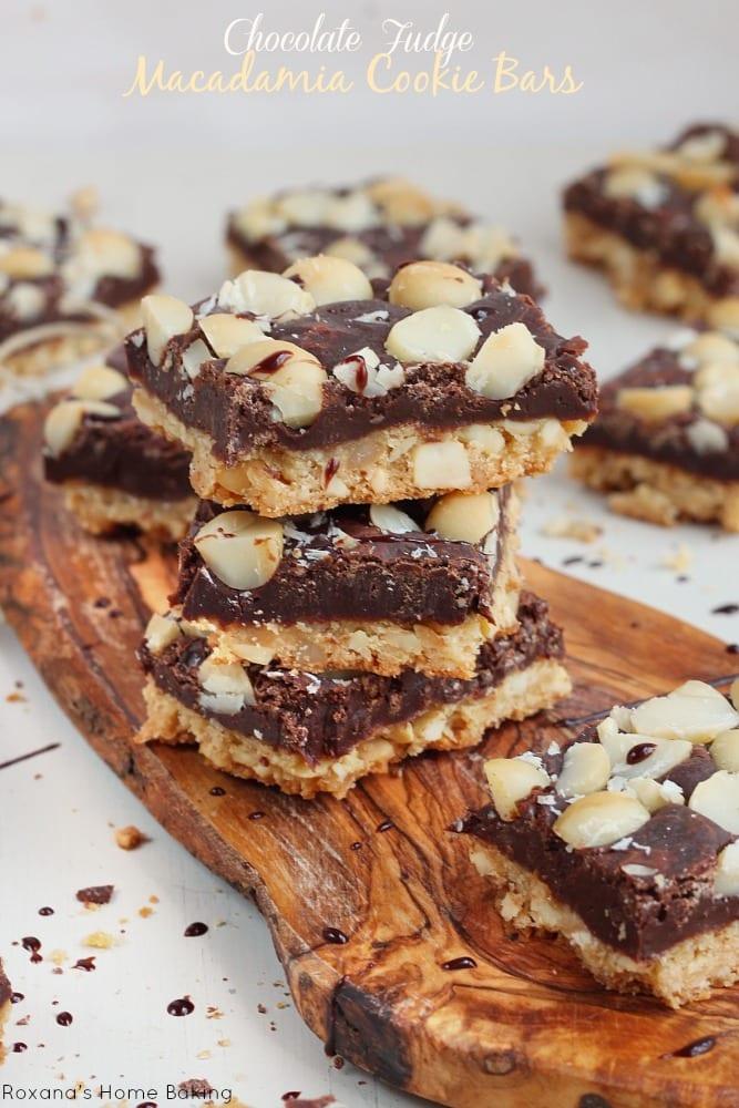 Chocolate fudge macadamia cookie bars recipe from Roxanashomebaking.com