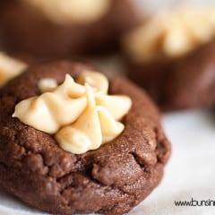 Salted Caramel Chocolate Thumbprints #recipe #BringTheCOOKIES