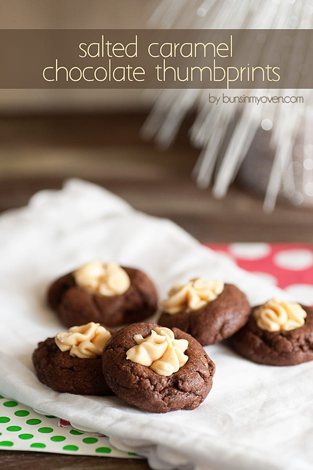 Salted Caramel Chocolate Thumbprints #recipe #BringTheCOOKIES