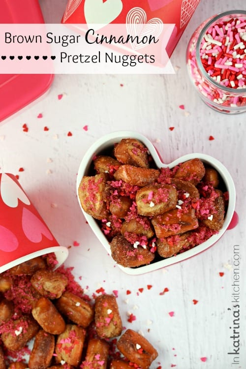 Sweet and Salty Brown Sugar Cinnamon Pretzel Nuggets for Valentine's Day