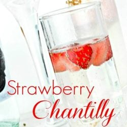 Strawberry Chantilly Cocktails with mini heart-shaped strawberries