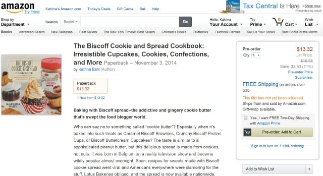 The Biscoff Cookie and Spread Cookbook Available on Amazon
