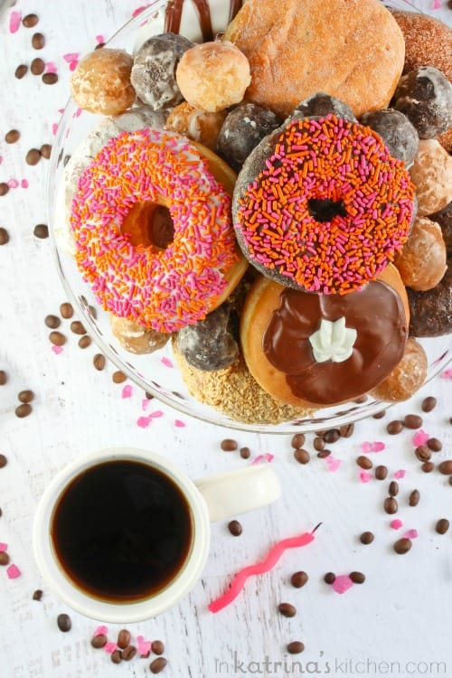 Donut Cake- because coffee and donuts are what everyone wants for their birthday.