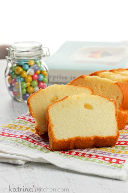 Surprise Inside Dotty Cake- save time by using a purchased pound cake for the colored dots