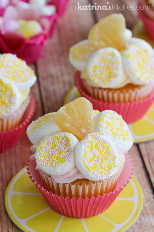 Use a lemon drop or a dried pineapple tidbit for a sweet center to this simple flower cupcake