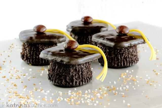Homemade Devils Food Cake recipe made into Graduation Cap Cupcakes