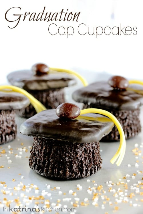 Homemade Devils Food Cake recipe to make these adorable Graduation Cap Cupcakes