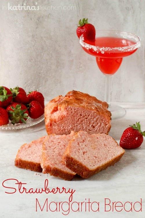 Strawberry Margarita Beer Bread Recipe- a modern twist on a classic boozy bread recipe.