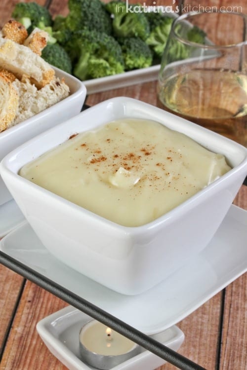 White Wine Swiss Fondue recipe with fresh nutmeg