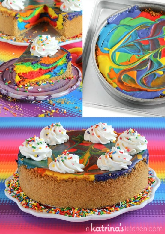 collage image showing steps to make a rainbow cheesecake