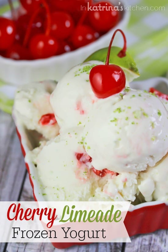Sweet and Tart Cherry Limeade Frozen Yogurt