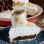 Mile High Smores Pie Recipe- piled high with giant marshmallows!