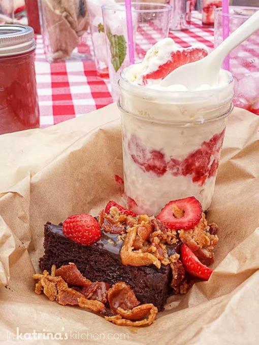 Strawberry Shortcake Jam Jar and Salted Caramel Bacon Strawberry Brownies