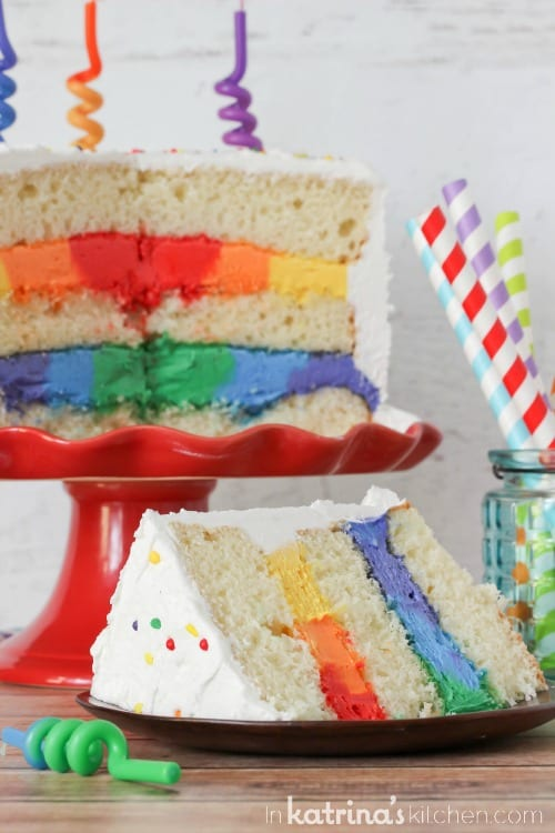 Extra Rich Vanilla Cake Recipe with Rainbow Frosting