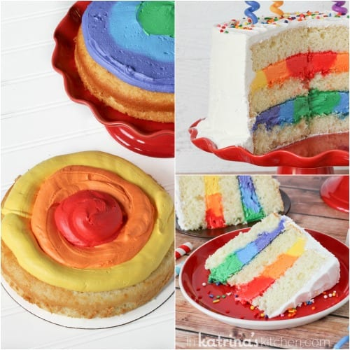 Extra Rich Vanilla Cake Recipe with Rainbow Frosting- simple tutorial and recipe
