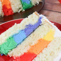 vanilla cake with rainbow frosting inside