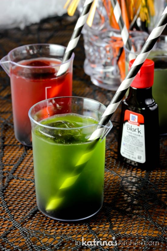 Use juice and black food coloring to make simple spooky drinks for kids.