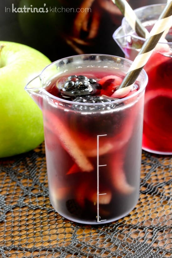Blackberry Apple Spooky Sangria recipe with spirialized apples- Use juice to make it non-alcoholic for kids.