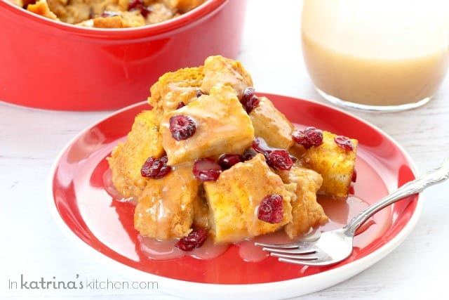 Pumpkin Cranberry Bread Pudding Recipe - so decadent with Pumpkin Spice Vanilla Glaze